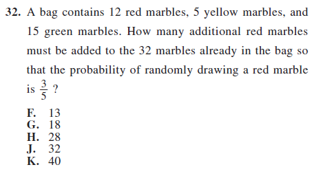 act prep math probability item 32