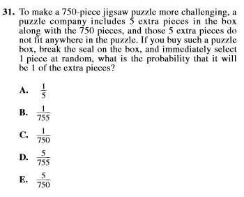 act prep math probability question 31