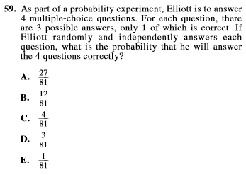act prep math probability item 59