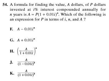 SAT and ACT comparison item 10 - math