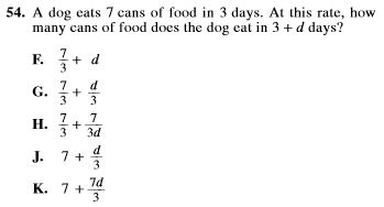 SAT and ACT comparison item 8 - math