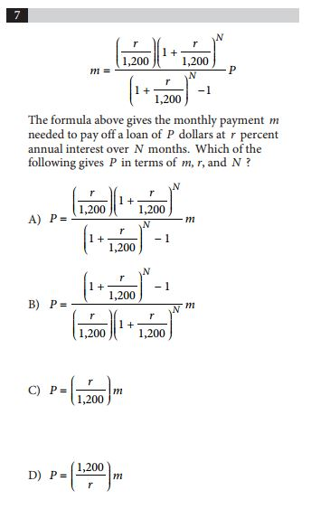 SAT and ACT comparison item 11 - math
